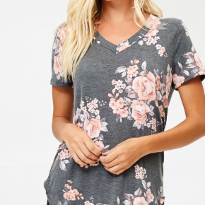 Floral V Neck Goddess Tee-Lola Monroe Boutique