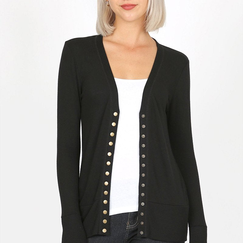 "Closeout Snap Button ""Gina"" Cardigan-Lola Monroe Boutique"