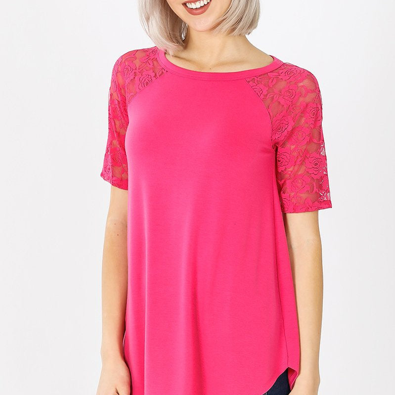 Lovely in Lace Relaxed fit Tee (Multiple Colors)-Lola Monroe Boutique