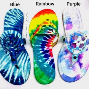 Closeout Tie Dye Designer Inspired Sandals-Lola Monroe Boutique