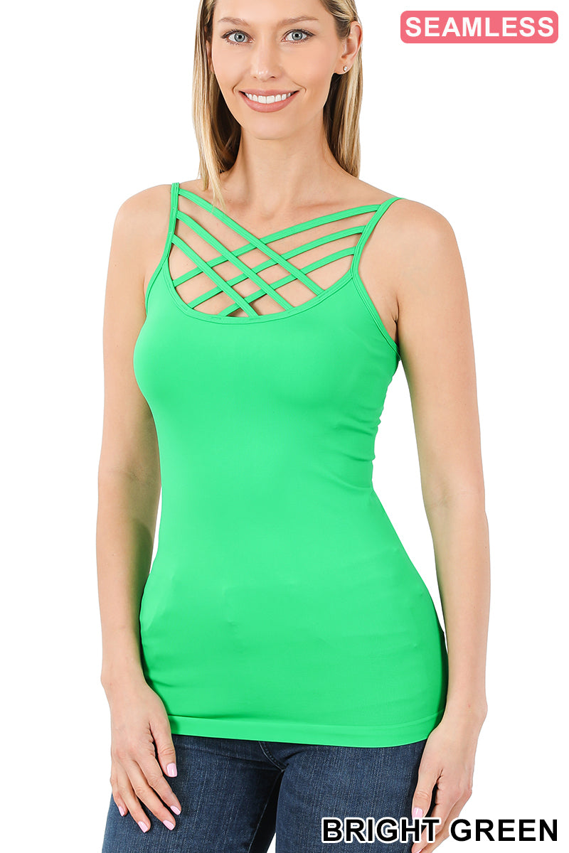 Spring Colors Criss Cross front Cami ( Multiple Colors)-Lola Monroe Boutique