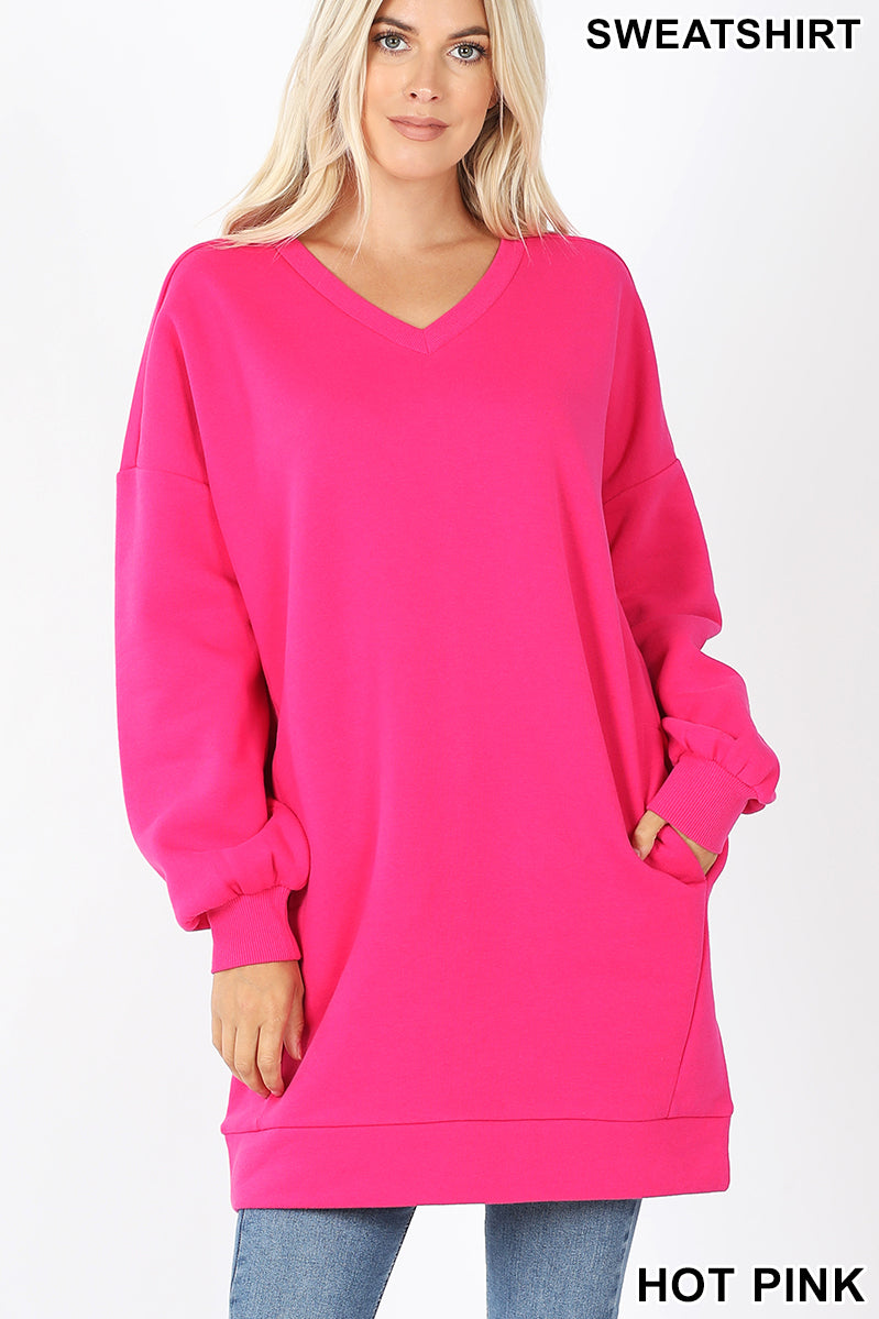 Doorbuster Sweatshirt Dress V Neck with Pockets-Lola Monroe Boutique