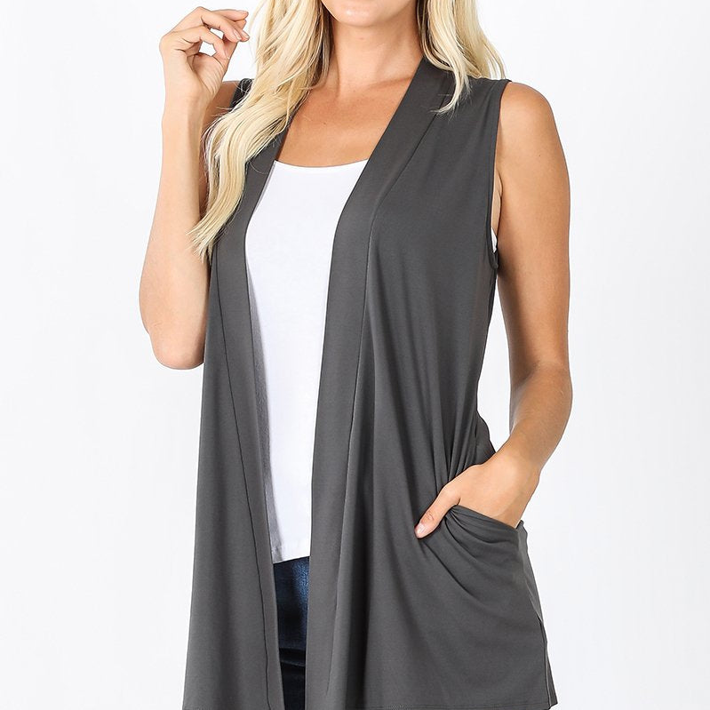 "No Jiggle Butter Vest ""Grey""-Lola Monroe Boutique"