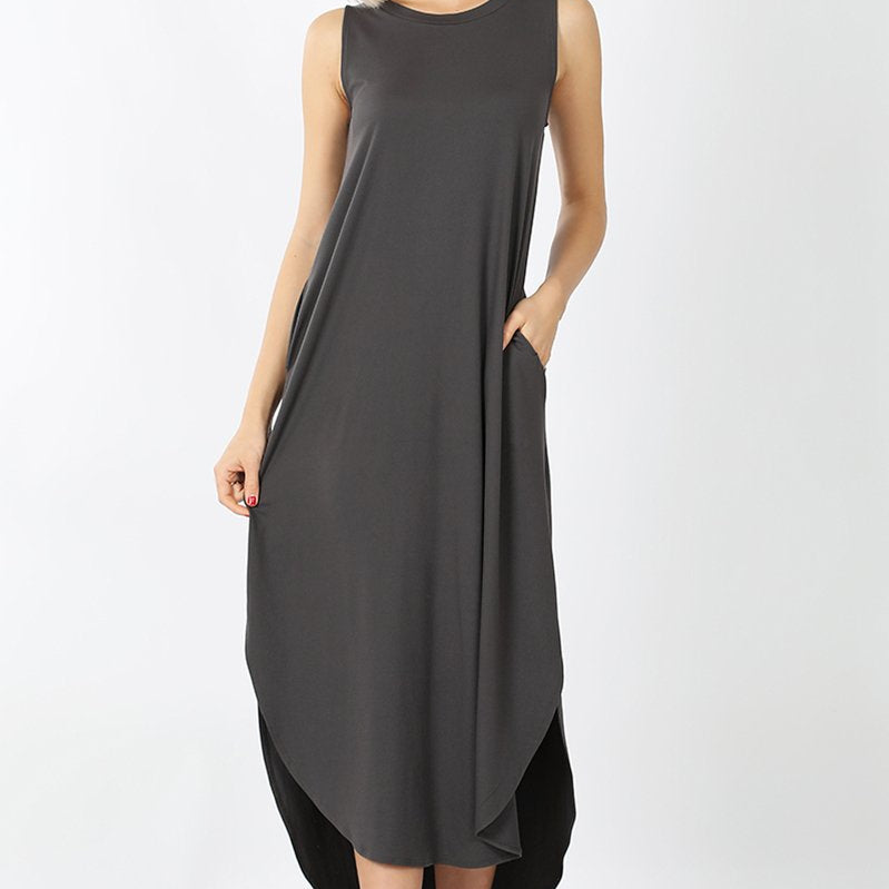 Sleeveless Side Slit Dress with Pockets-Lola Monroe Boutique