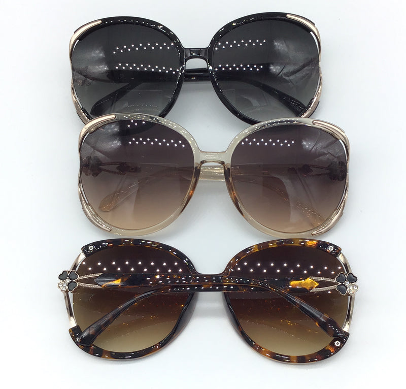 Floral Embellished Sunglasses (Multiple Colors)-Lola Monroe Boutique