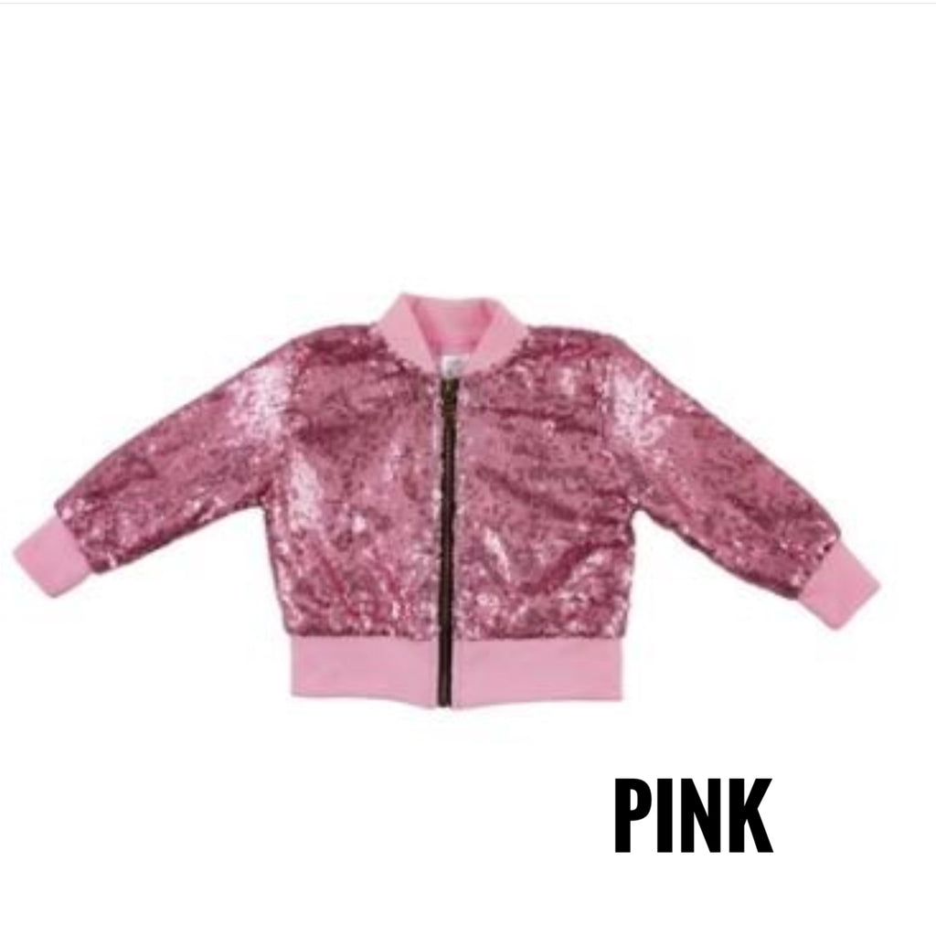 Sequined Kids Bomber Jacket (Multiple Colors)-Lola Monroe Boutique