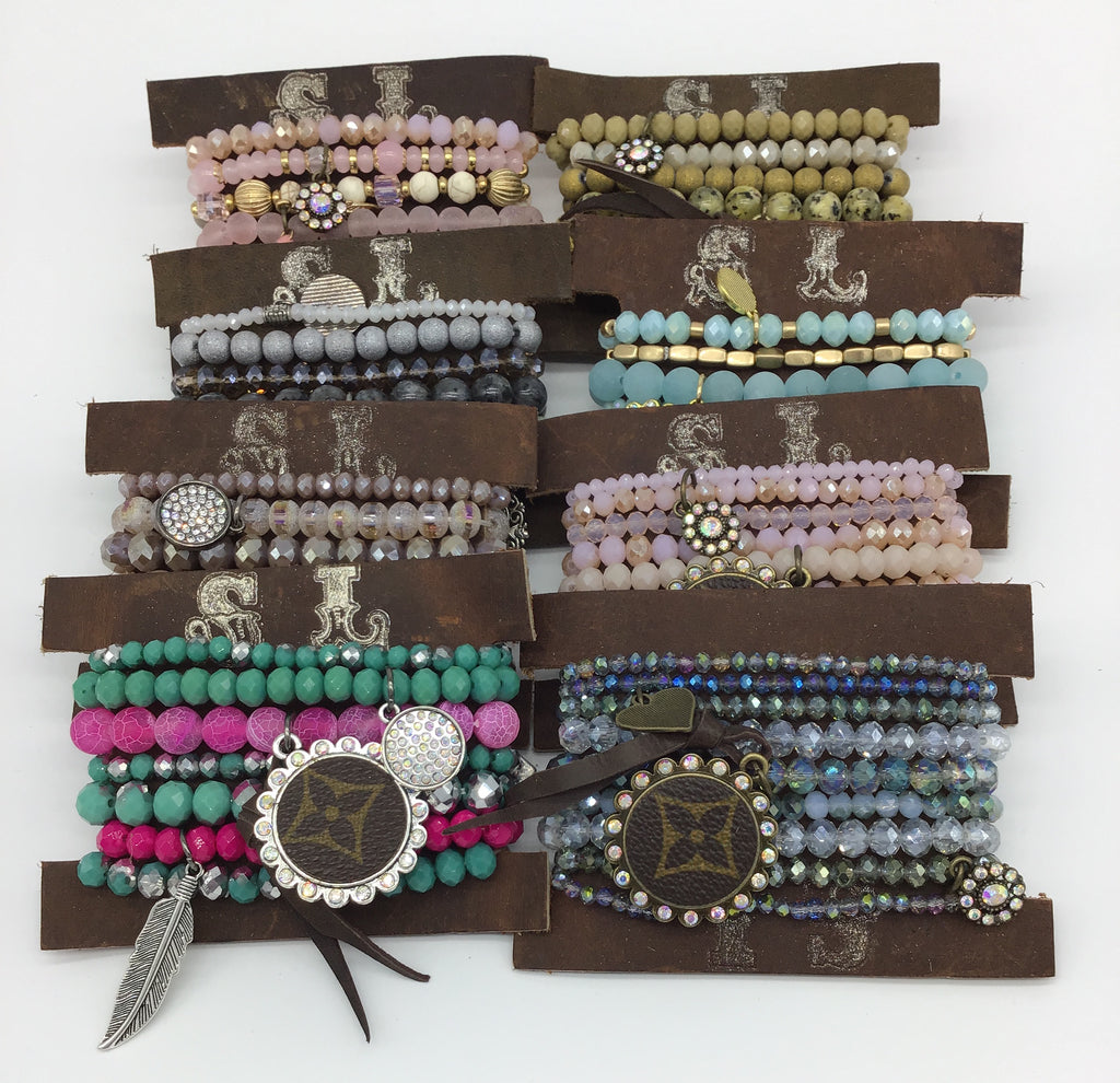 Upcycled Stacker Bracelets (Multiple Colors)-Lola Monroe Boutique