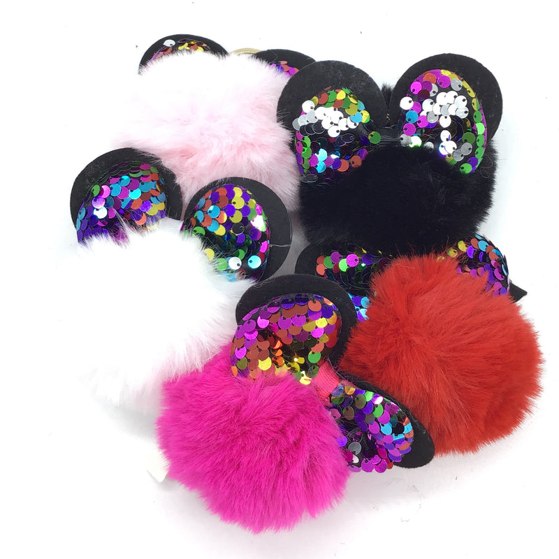 Keychain Puff with sequin ears(Random Color)-Lola Monroe Boutique