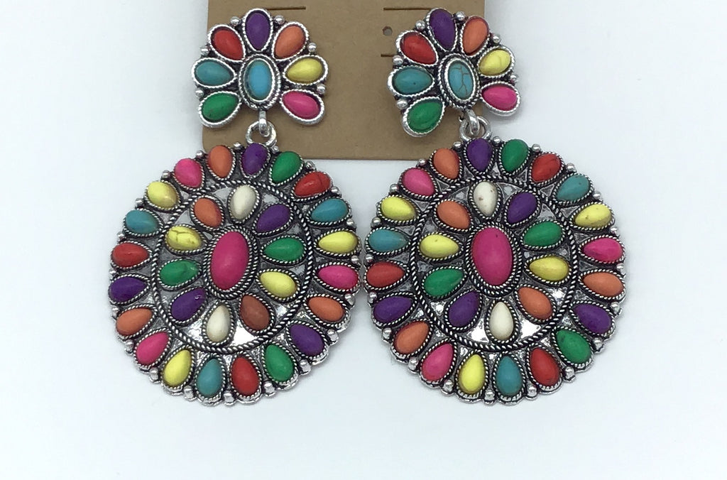 Rainbow Multi Stone Earrings-Lola Monroe Boutique