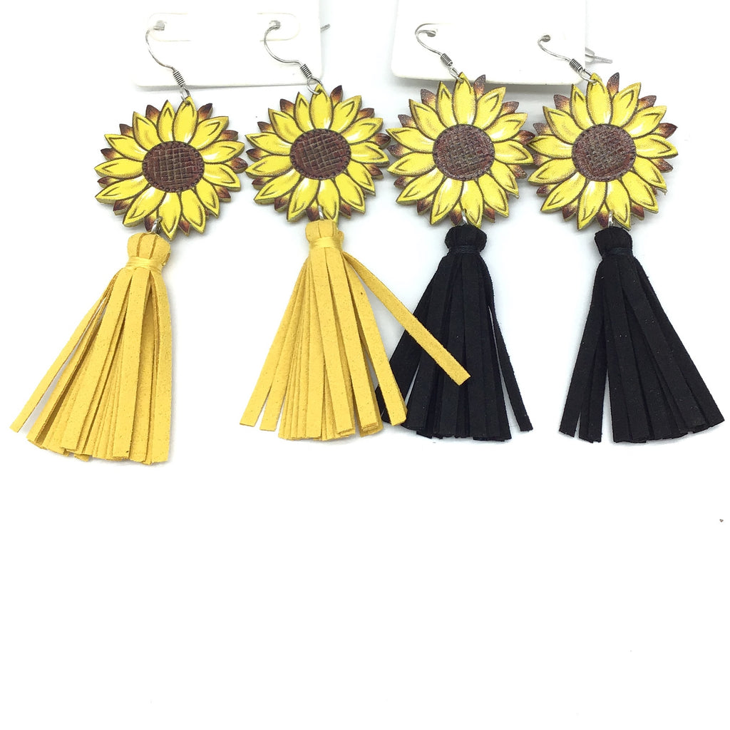 Sunflower with Tassle Earrings (Multiple Colors)-Lola Monroe Boutique