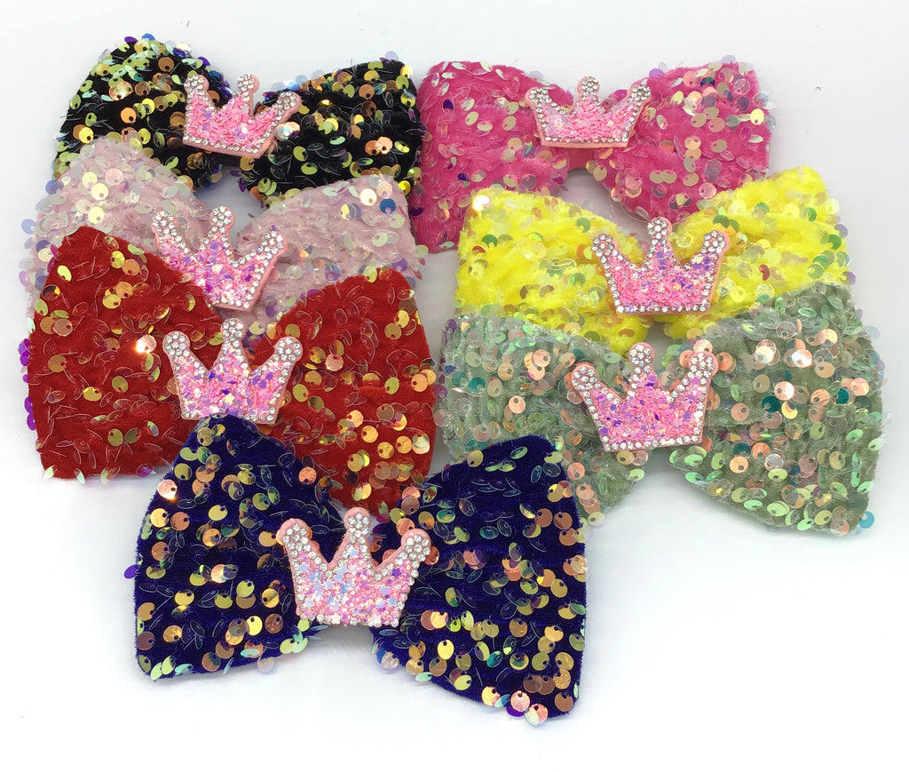 Sequin Bow with Crown (Multiple Colors)-Lola Monroe Boutique