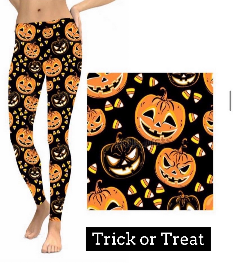 Trick or Treat Halloween Leggings-Lola Monroe Boutique