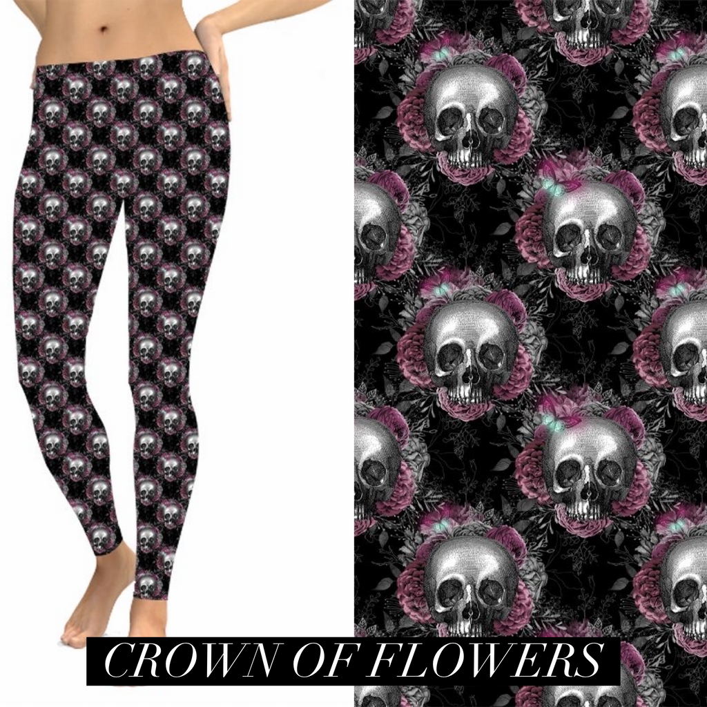 Crown of Flowers Halloween Leggings-Lola Monroe Boutique