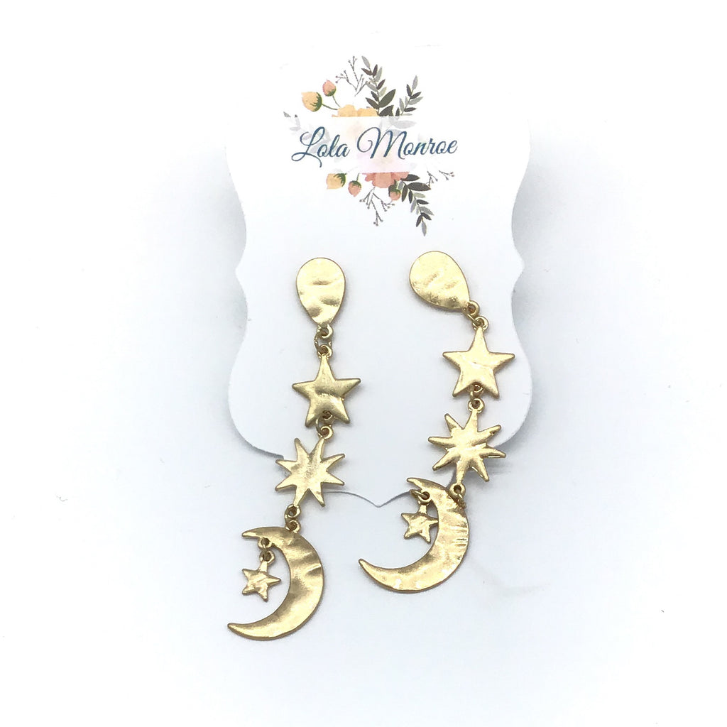 Stars & Moons Drop earrings-Lola Monroe Boutique