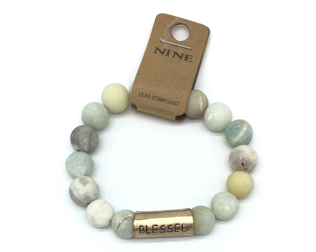 """Blessed"" Semi-Precious stone bracelet with engraved plaque-Lola Monroe Boutique"