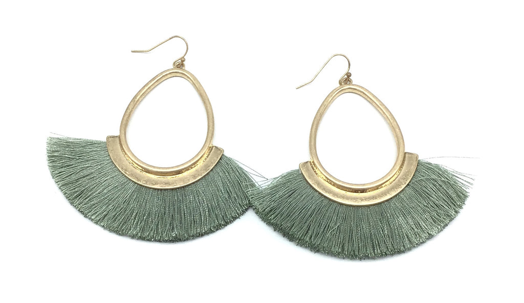 Fringe Teardrop Earrings (Multiple Colors)-Lola Monroe Boutique