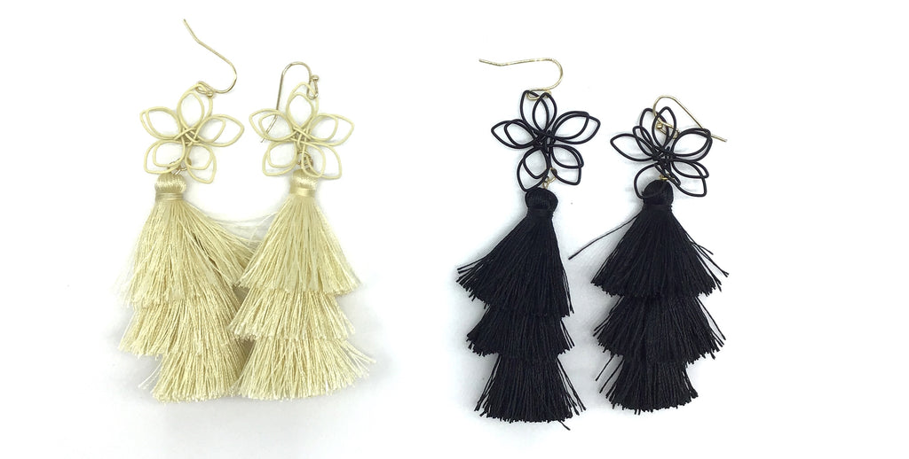 Flower Tassle Drop Earrings-Lola Monroe Boutique
