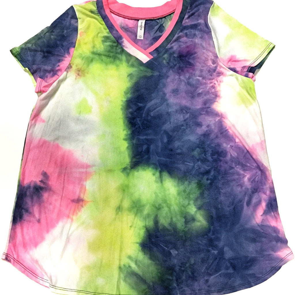 Honey Me V Neck Tie Dye Tee-Lola Monroe Boutique