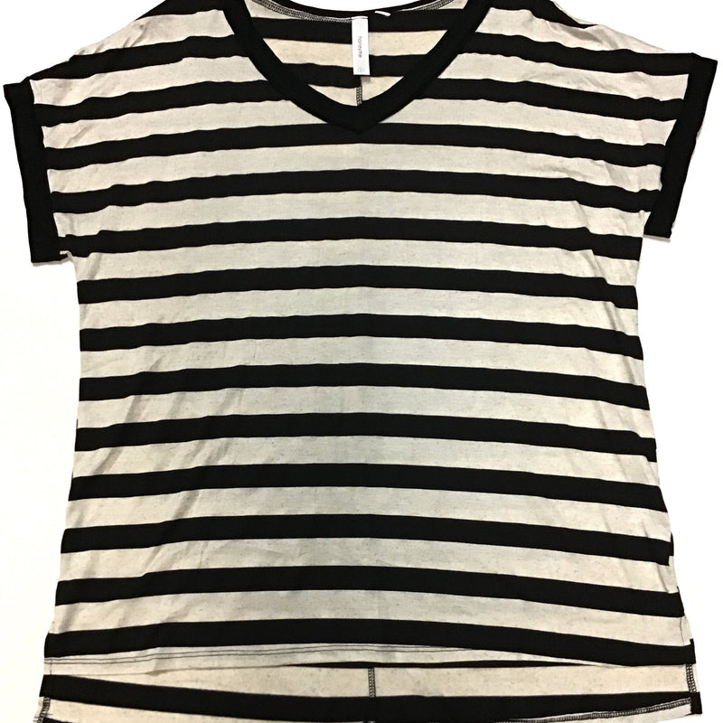 Honey Me Stripe Rolled Cuff V Neck Tee-Lola Monroe Boutique