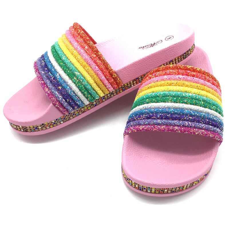 Sparkle Rainbow Slides-Lola Monroe Boutique