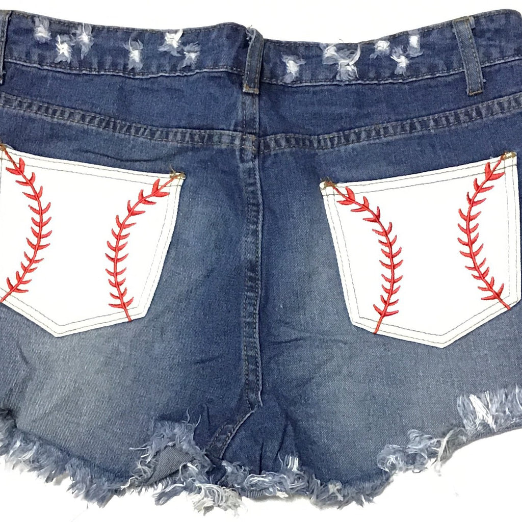 Distressed Denim Short Shorts with Baseball Rear Pocket Design-Lola Monroe Boutique