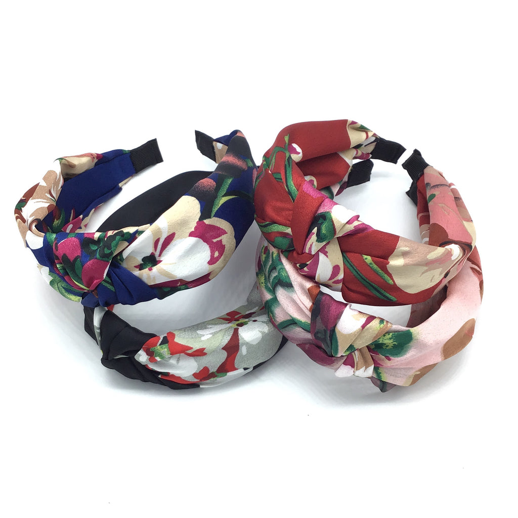 Satin Floral Headband-Lola Monroe Boutique