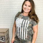 """Now You See Me"" Flag Tee with Rolled Cuff Sleeve-Lola Monroe Boutique"