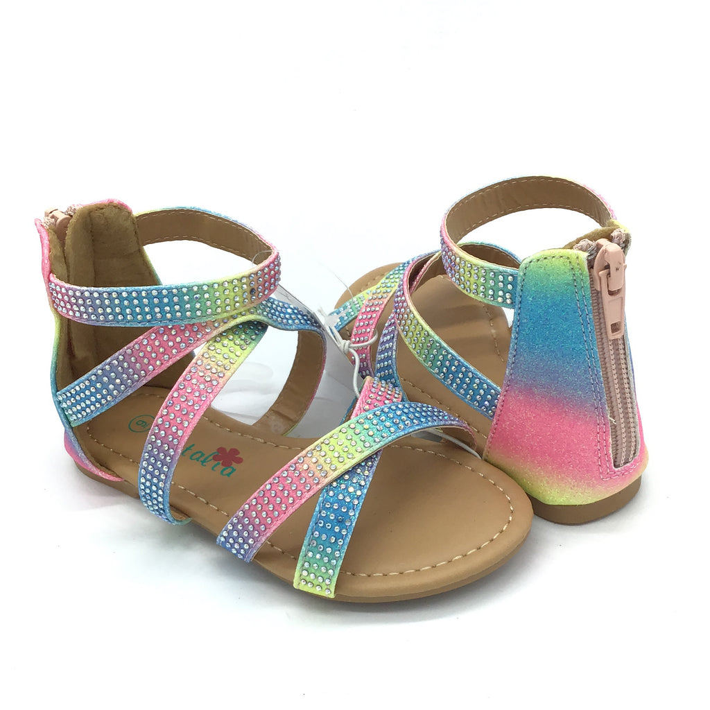 Kids/Toddler Sparkle Rainbow Sandal (Kids 5 - 10)-Lola Monroe Boutique