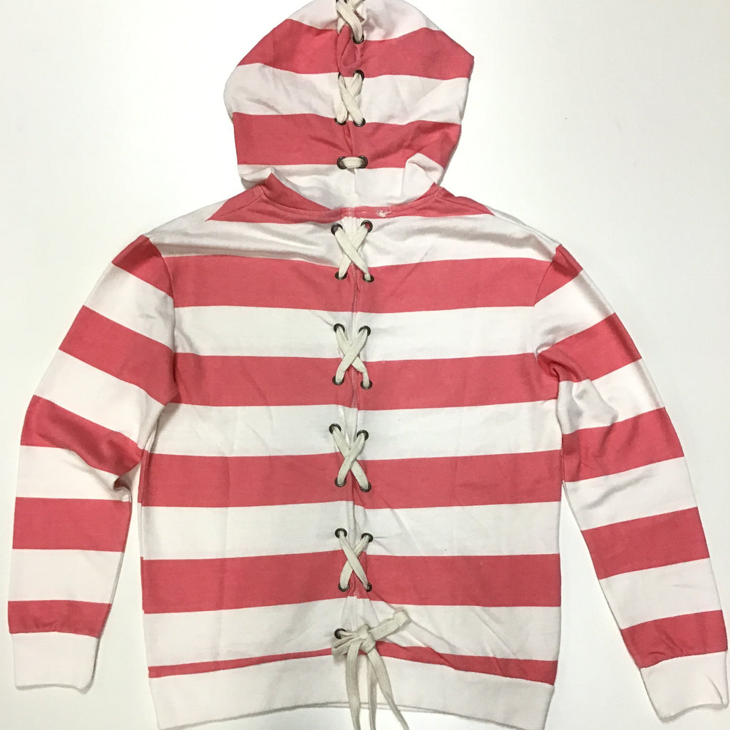 Stripe Lace Up Back Hoodie
