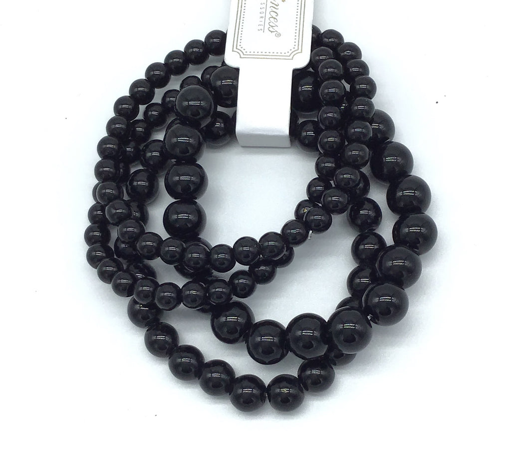 Set of 4 Beaded Bracelets (Black & White)-Lola Monroe Boutique