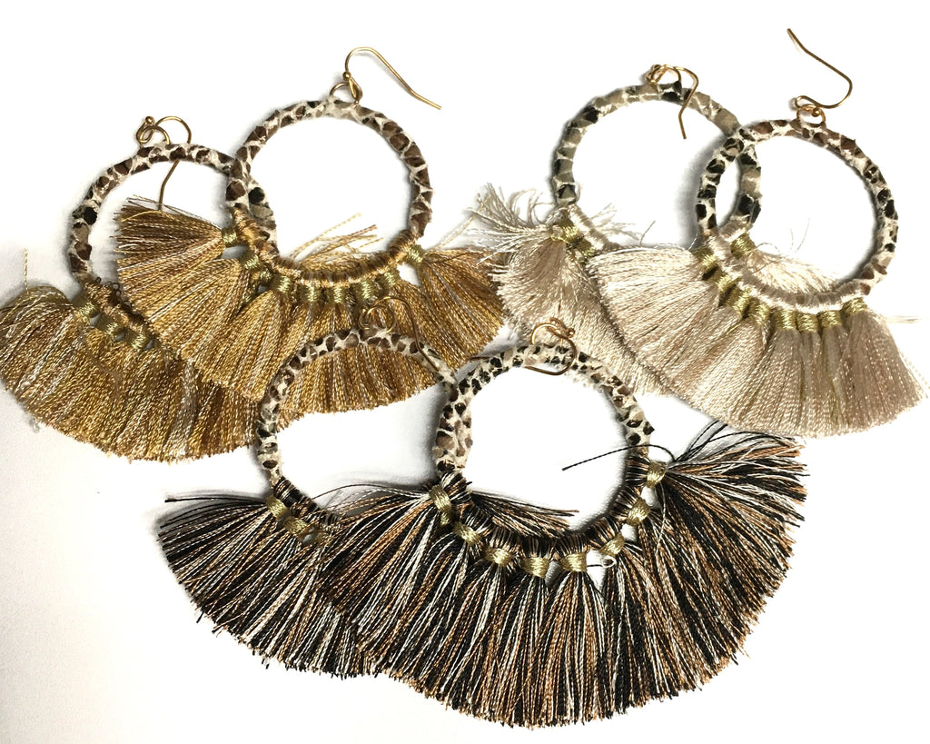 Animal Print Dangle Hoop with Fringe (Multiple Colors)-Lola Monroe Boutique