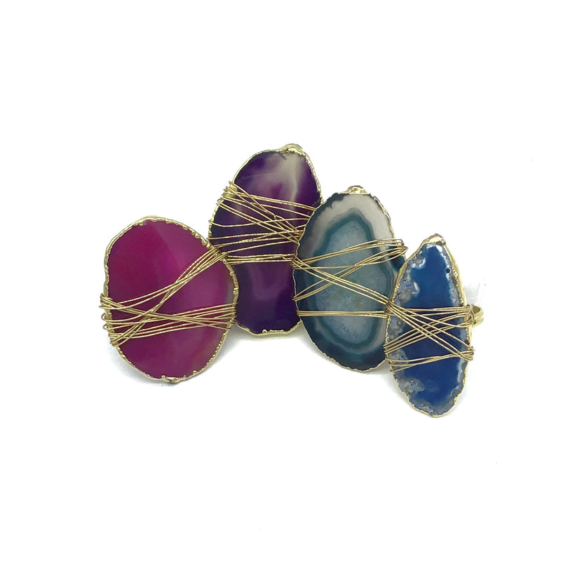 Wire Wrapped Gilded Agate Adjustable Rings (Multiple Colors)-Lola Monroe Boutique