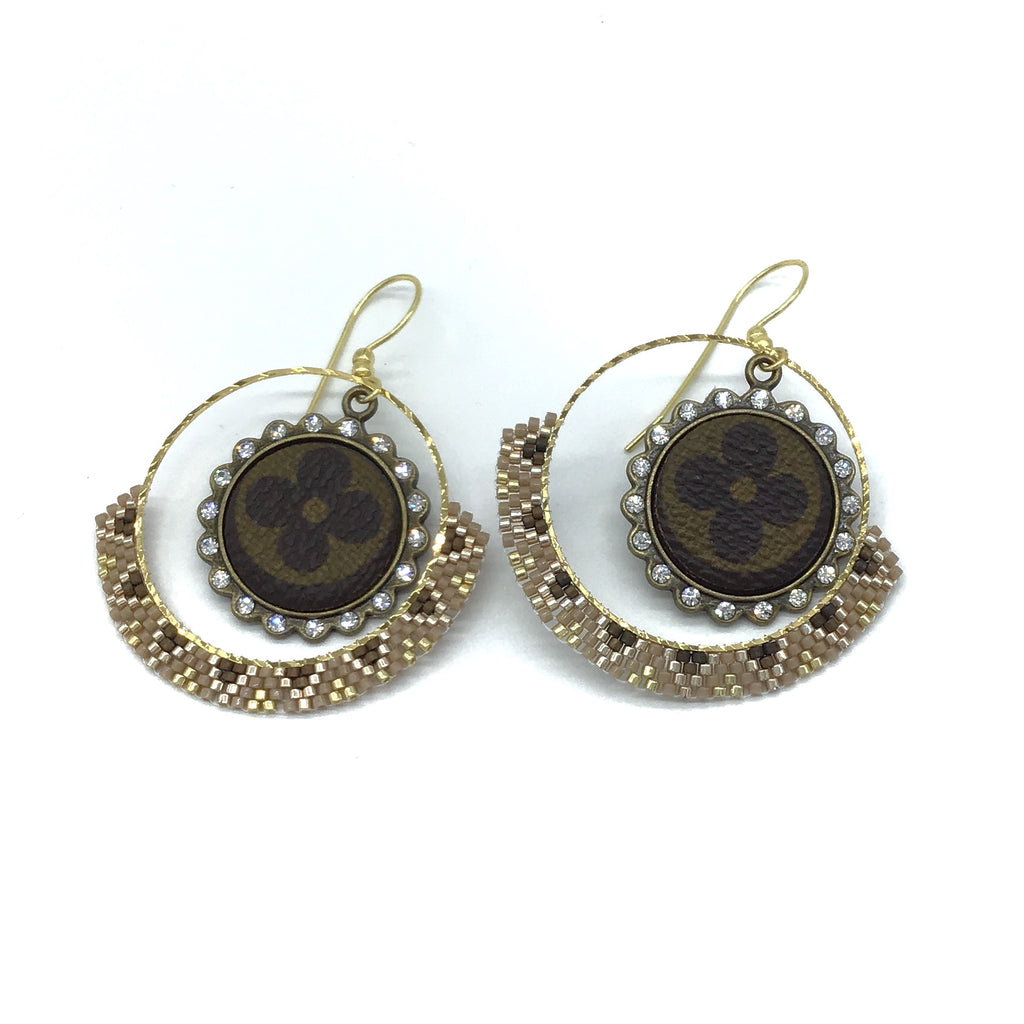 Upcycled Beaded Hoop Earrings-Lola Monroe Boutique