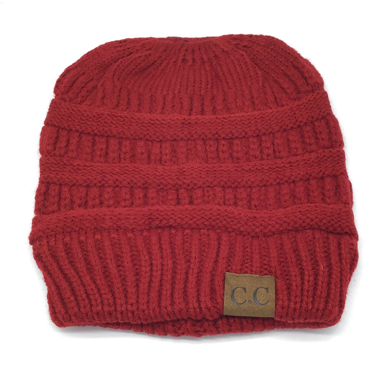 Closeout Ponytail Beanies Solid Colors (Multiple Colors)-Lola Monroe Boutique