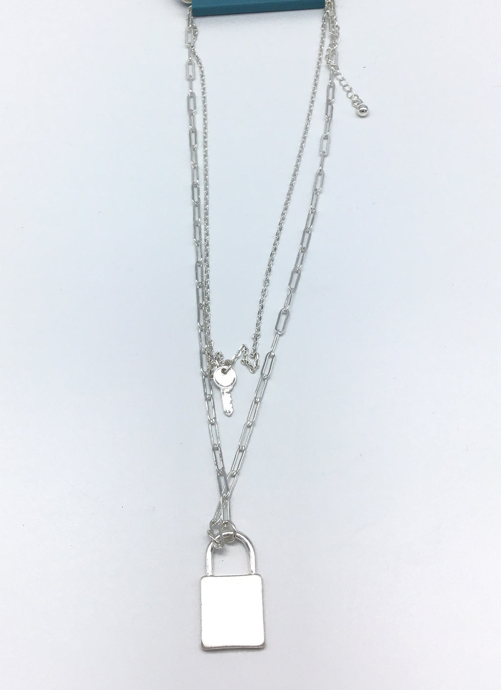 Layered Lock & Key Necklace (Gold & Silver)-Lola Monroe Boutique