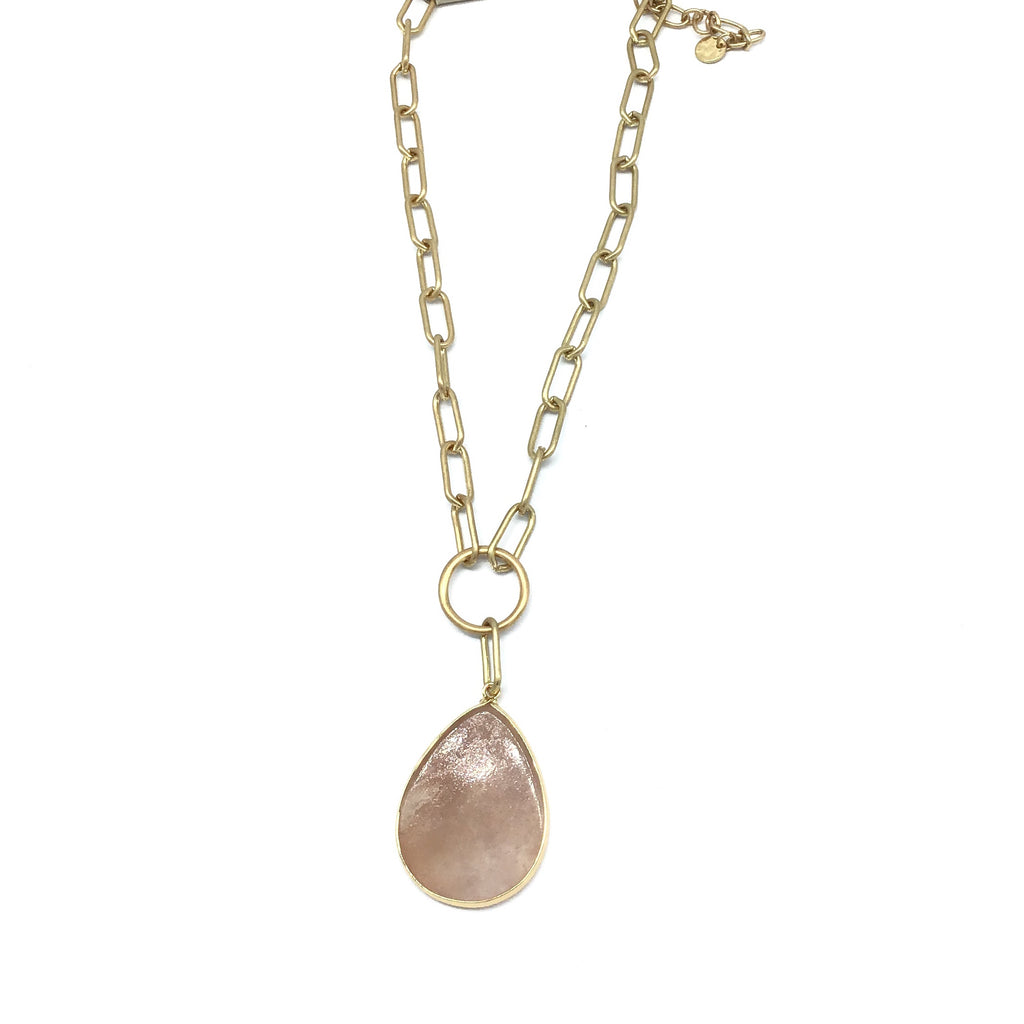 Teardrop Stone Necklace (Pink & White)-Lola Monroe Boutique