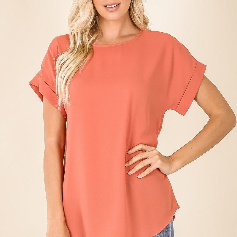 ROLLED SLEEVE BOAT NECK ROUND BOTTOM-Lola Monroe Boutique
