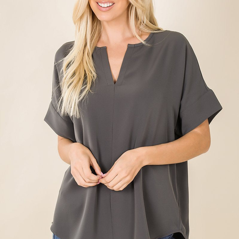 SPLIT NECK SHORT SLEEVE TOP-Lola Monroe Boutique