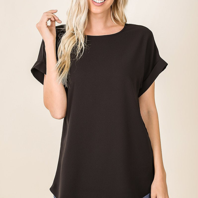 Boat Neck Rolled Sleeve Top-Lola Monroe Boutique