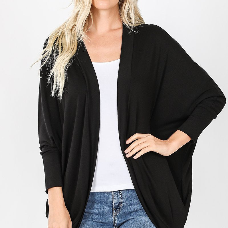 Black Cocoon Wrap Cardigan-Lola Monroe Boutique
