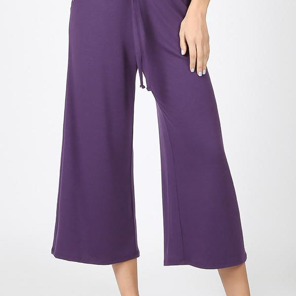CROPPED LOUNGE PANT WITH DRAWSTRING WAIST AND SIDE POCKETS-Lola Monroe Boutique