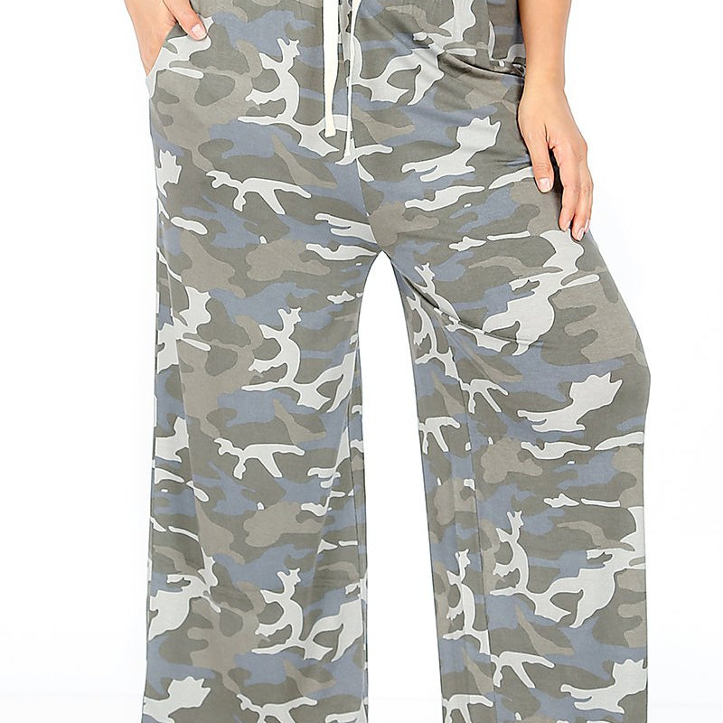 CAMOUFLAGE CROPPED LOUNGE PANTS WITH DRAWSTRING WAIST & SIDE POCKETS-Lola Monroe Boutique