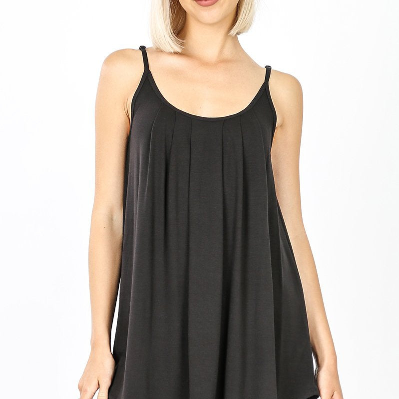 Pleated front Adjustable Strap Cami-Lola Monroe Boutique
