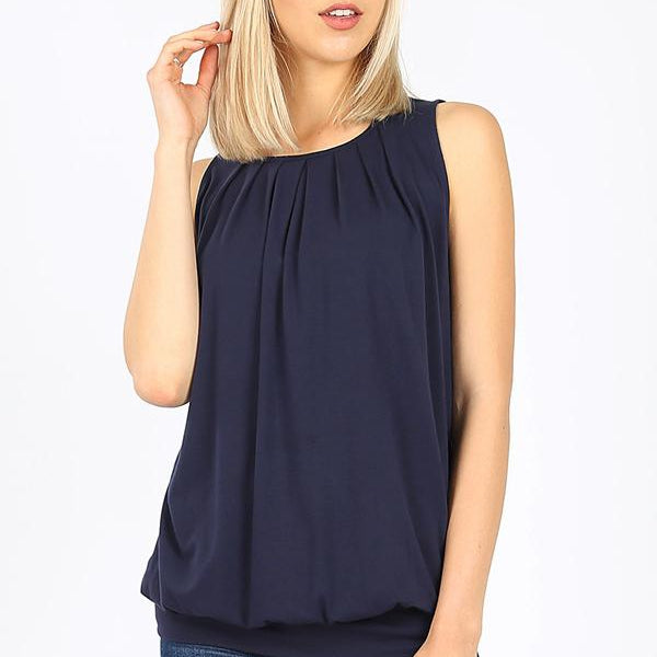 Pleated front Tank Top with waistband-Lola Monroe Boutique