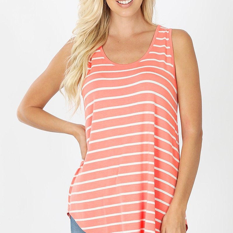 Relaxed Fit Striped Tank Top (Multiple Colors)-Lola Monroe Boutique