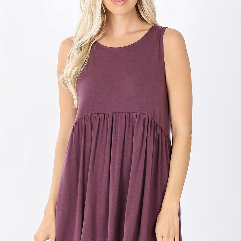 Baby Doll Tunic Tank Top (Eggplant)-Lola Monroe Boutique