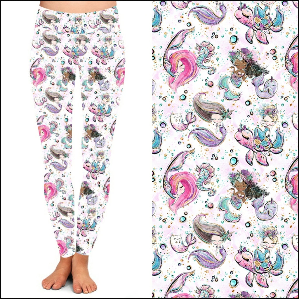 Mermaid Print Leggings & Capris-Lola Monroe Boutique