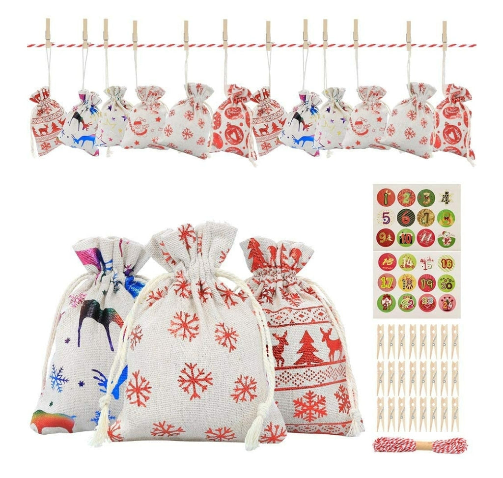 Large 5*7 Advent Calendar Cotton Bags-Lola Monroe Boutique