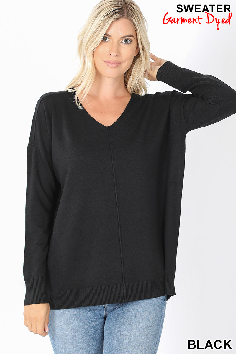 """Phoebe"" V-Neck Front Seam Sweater (Multiple Colors)-Lola Monroe Boutique"
