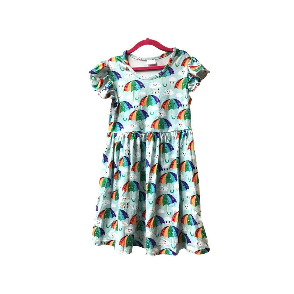 "Kids ""Raining Rainbows"" Ruffled Cap Sleeve Dress-Lola Monroe Boutique"